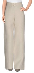 Armani Collezioni Casual Linen Silk Comfortable Wide Leg Pants Beige