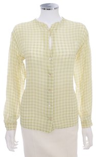 Armani Collezioni Gingham Silk Sheer Button Down Shirt LIME GREEN