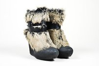 Ash Black Leather Fur Brown Boots