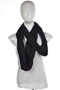 Athleta Athleta Women Gray Black Infinity Scarf Os Striped Cotton Casual
