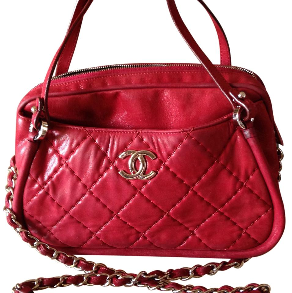 Auth Chanel Quilted Calfskin Leather Chain Shoulder Bag Burgundy