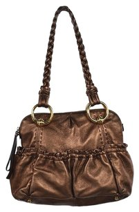 B. Makowsky B Womens Casual Metallic Handbag Satchel in Bronze