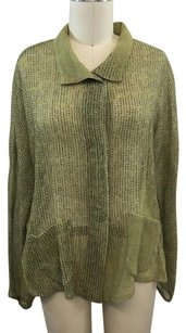 Babette Avocado Sheer Wool Ruched Back Top Green