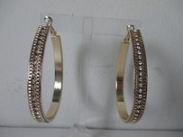 Baby Phat Baby Phat Gold Crystal Oval Hoop Earrings Lot Of Piecs