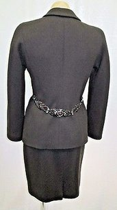Badgley Mischka Badgley Mischka Brown Wool Boucle Skirt Suit W Jeweled Metal Belt At Back -