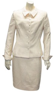 Badgley Mischka Badgley Mischka Cream Wool Blend Pc Wtw Career Skirt Suit Hs2819