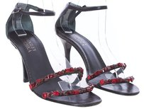 Badgley Mischka Glitter Sparkle Special Occasion Glass Beads Round Toe Black and Red Sandals