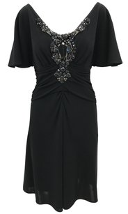 Badgley Mischka Keyhole Crystal Embellished Formal Rhinestone Dress
