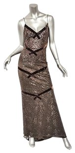 Browns Maxi Dress by Badgley Mischka Sequined Accents Long Evening