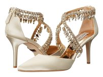 Badgley Mischka Sweetheart Wedge Heel Ivory Pumps
