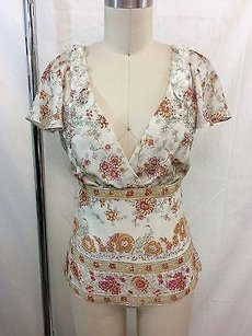 Badgley Mischka Cream Floral Beaded Cap Sleeve Top Multi-Color