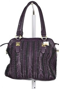 Bagtique Womens Textured Leather Handbag Satchel in Purple