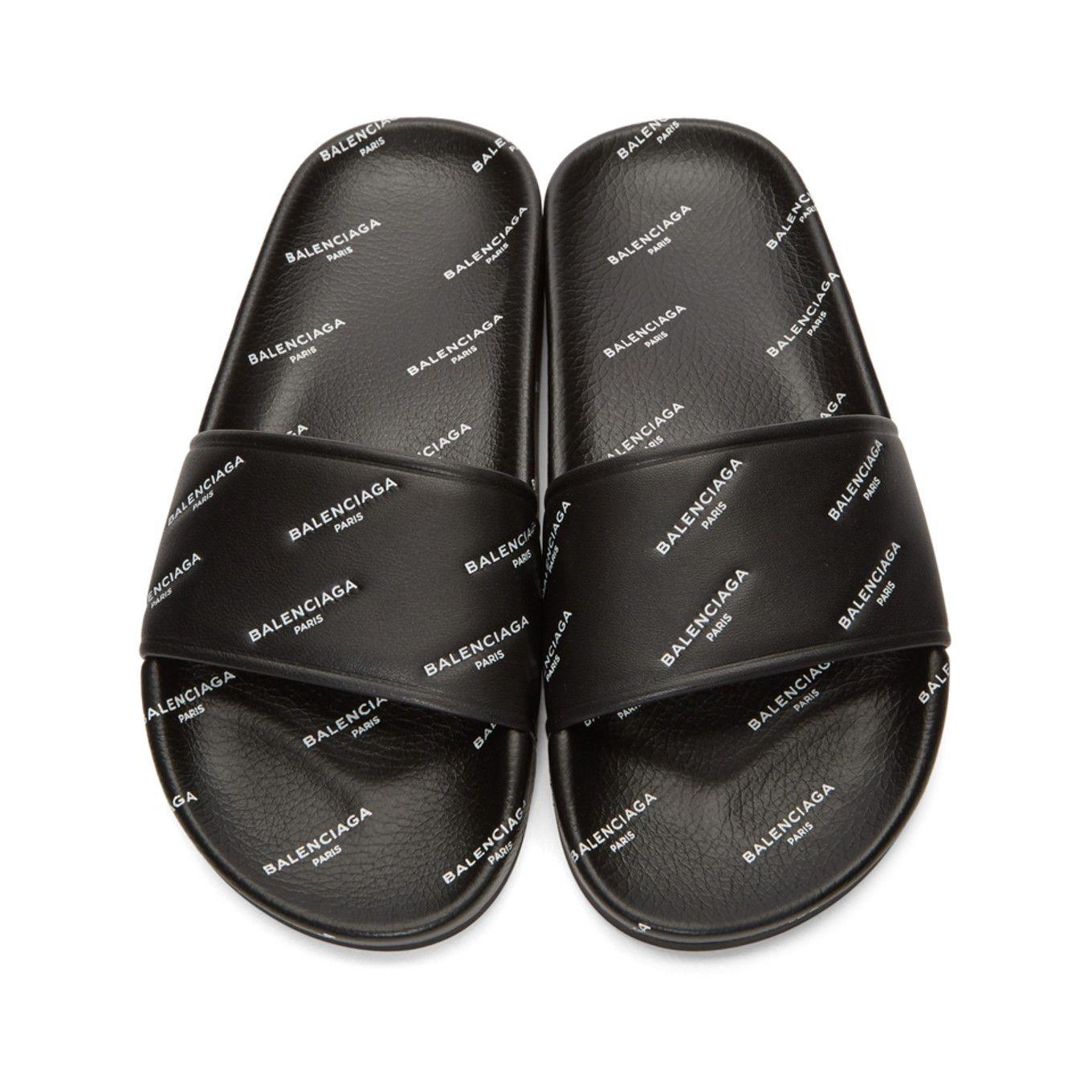 Balenciaga Black Logo All Over Slides Womans Sandals Size EU 40 (Approx. US 10) Regular (M, B)