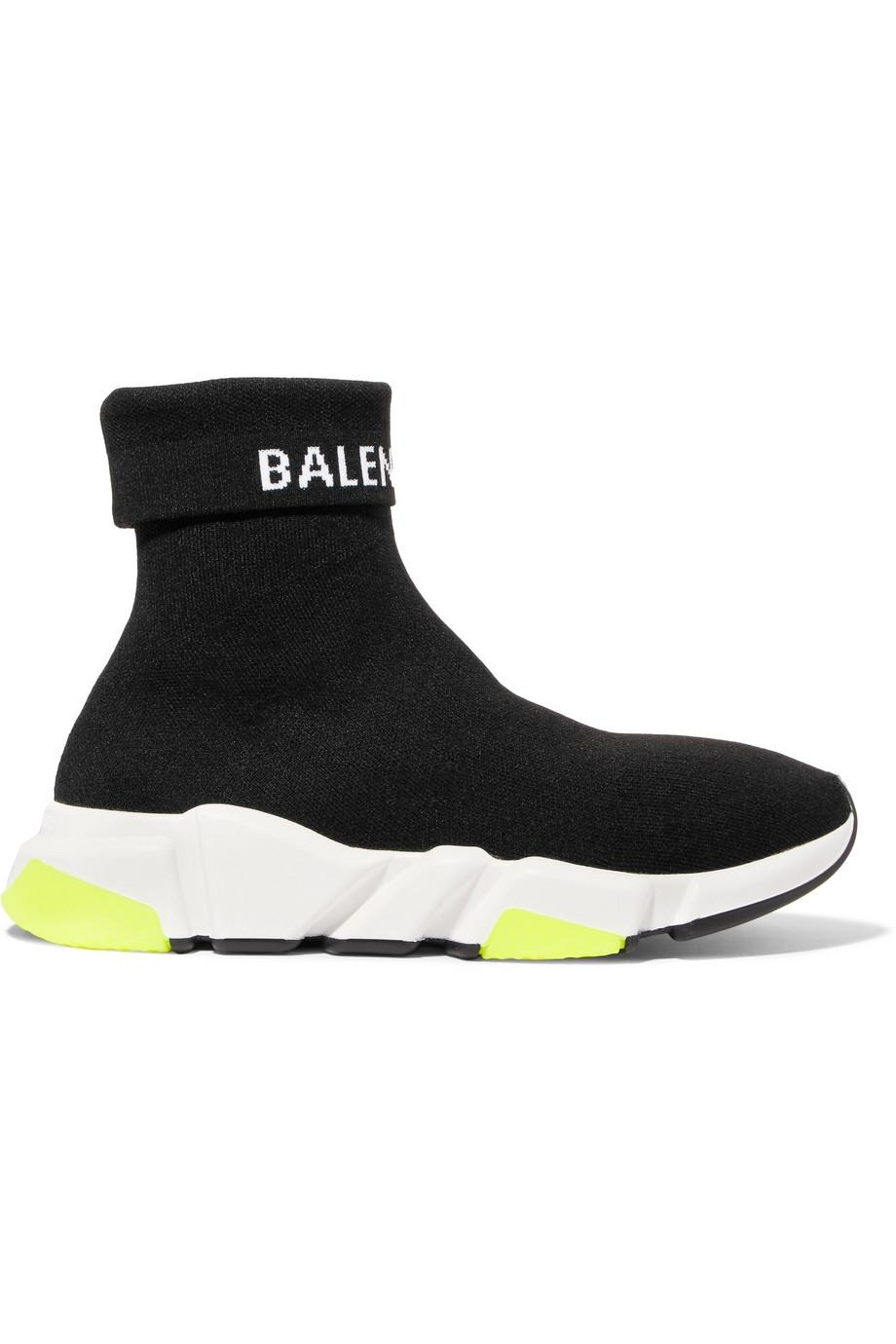 Balenciaga Black Speed Logo-intarsia Stretch-knit High-top Sneakers It37 Sneakers Size EU 37 (Approx. US 7) Regular (M, B)