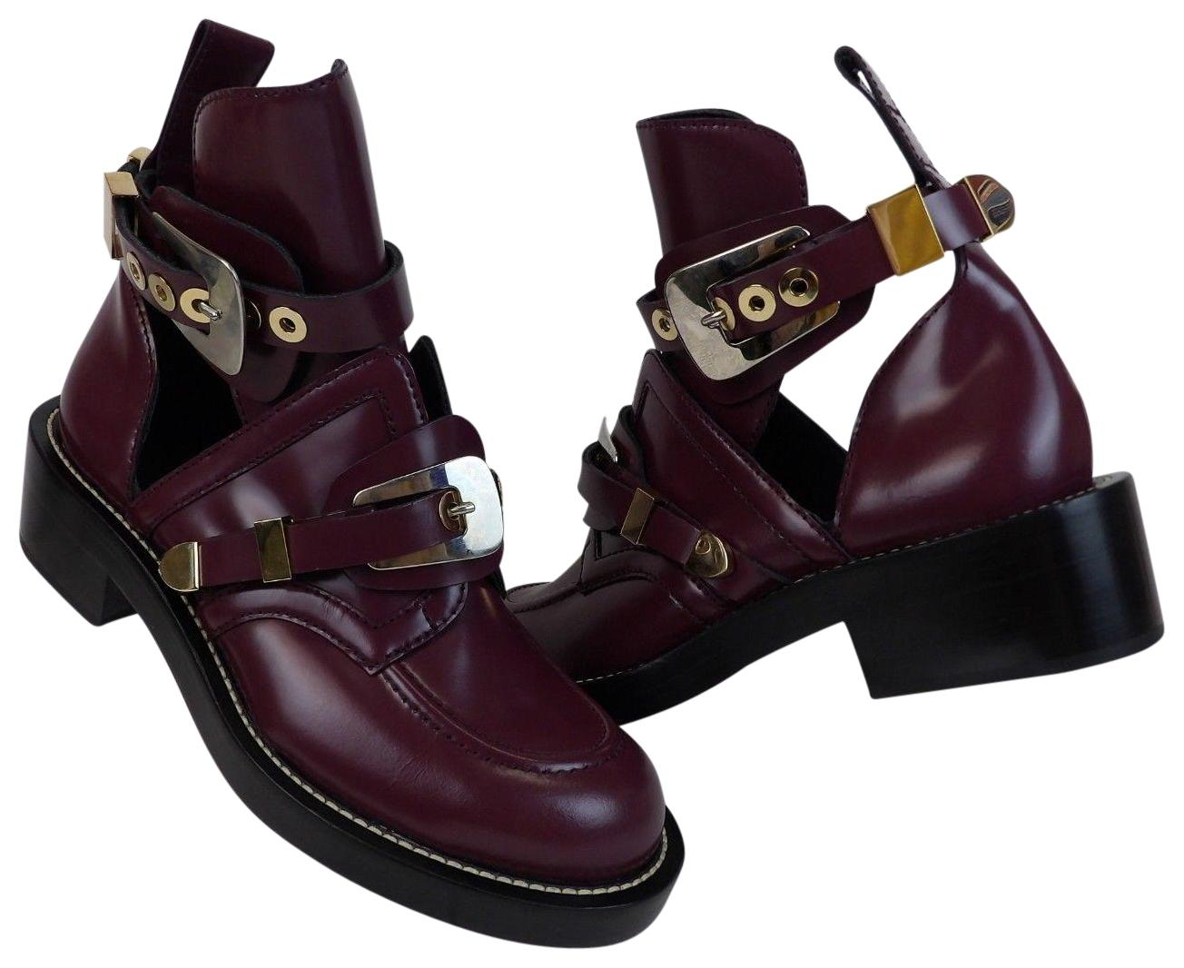 Balenciaga Burgundy Ceinture Metal Buckle Cut Out Leather Ankle Boots/Booties Size EU 39.5 (Approx. US 9.5) Regular (M, B)