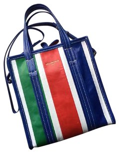 Balenciaga Cabas Shopping Tote in White, Green, Red, Blue, White