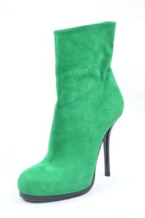 Balenciaga Kelly Suede High Heel Zipper Pump Ankle Greens Boots