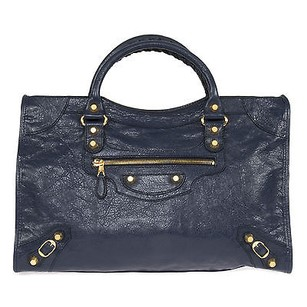 Balenciaga Giant City Bleu Gold Tote in Blue