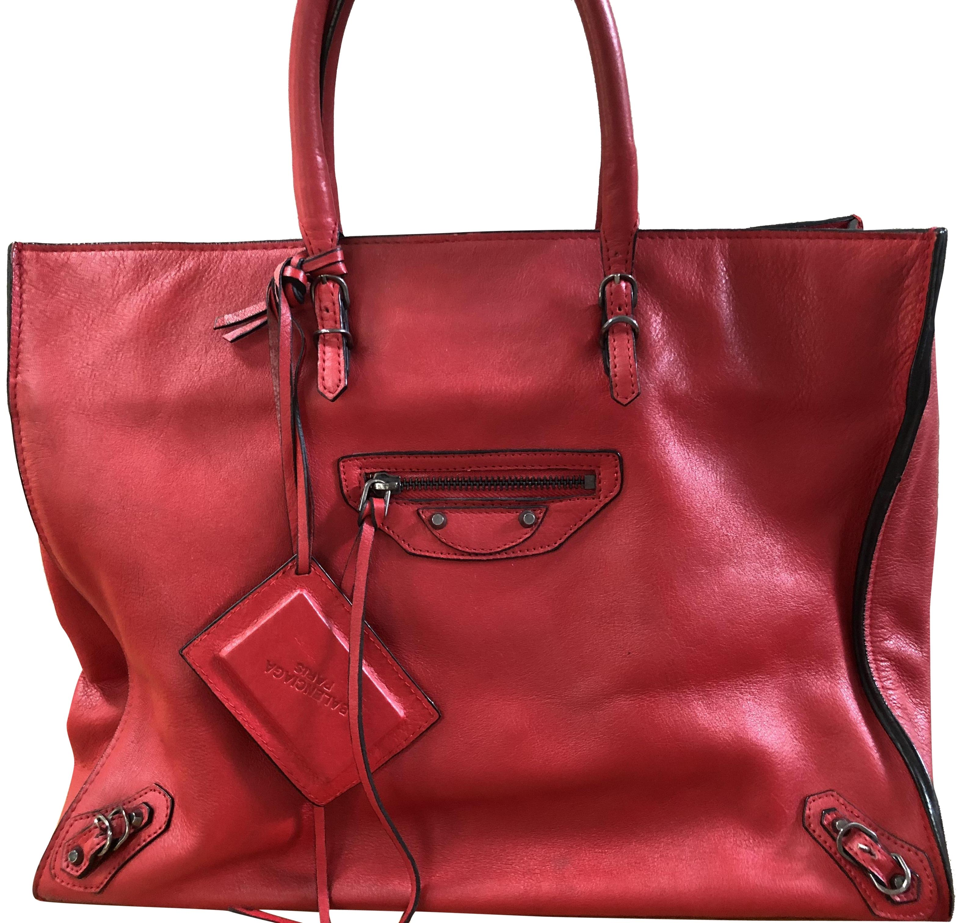 Balenciaga Papier A4 Tote Rouge Red Calfskin Leather Satchel Tradesy