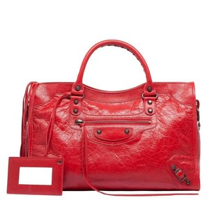 Balenciaga Satchel in Red Lipstick