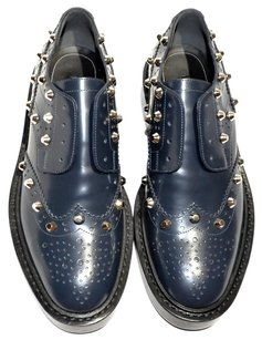 Balenciaga Studded Wing-tip Laceless Slip-on Made In Italy Dark Blue (Bleu Obscur) Formal