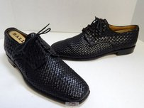 Bally Italy Denaro Black Woven Leather Oxford Dress Shoes D