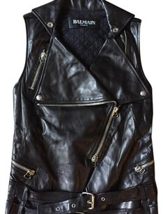 Balmain black Leather Jacket
