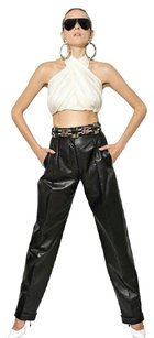 Balmain Rihanna High Waisted Leather Chanel Wide Leg Pants black