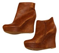 Bamboo Wedge Ankle Tan Boots