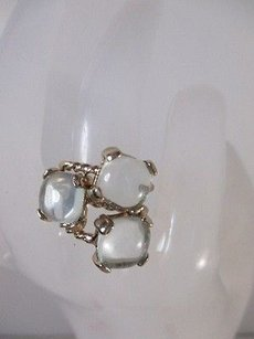 Banana Republic Banana Republic Clear Square Stone Dainty Rope Solitiare Ring Set Ea