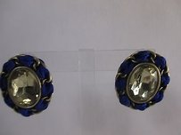 Banana Republic Banana Republic Navy Ribbon Yellow Crystal Oxidized Brass Stud Earrings