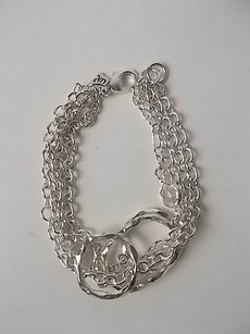 Banana Republic Banana Republic Silver Dainty Three Row Link Crystal Bracelet