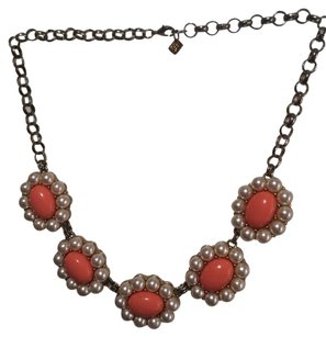Banana Republic Coral And Pearl Flower Statement Necklace