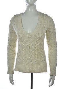 Banana Republic Womens Cable Knit V Neck Shirt Sweater