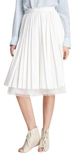 Band of Outsiders By Silk Pleated Tulle Frayed Midi 364 Skirt Ivory