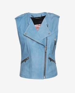 Barbara Bui Moto Jean Leather Sleeveless Lined Vest