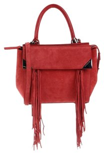 Barbara Bui Leather Italian Suede Metallic Hardware Fringe Hem Shoulder Bag