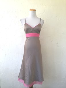 Bari Jay Taupe/Candy Pink Bari Jay Strappy Satin Taupe Sheer Filmy Pink Bridesmaid/party Dress Dress