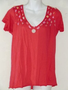 Barneys New York Loomstate Blank Red Embellished V Neck 616750 T Shirt Reds