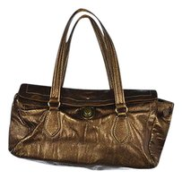 Barneys New York Ny Womens Metallic Faux Leather Casual Handbag Satchel in Gold