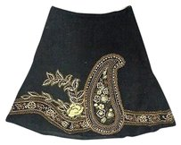 Basil & Maude And Embellished Lined Corduroy Sma10211 Skirt Black Brown Gold