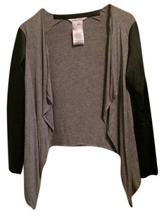 BCBG Leather Sweater Gray black Jacket