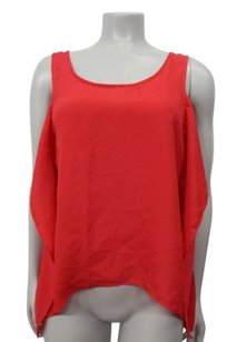 BCBGeneration Bcbg Cranberry Hi Low Side Ruffle Sleeveless Top Red