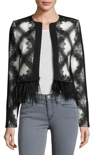BCBGMAXAZRIA Off White Printed Ostrich Feather Trim Cropped Xs02 Black Jacket