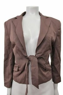 BCBGMAXAZRIA Bcbg Maxazria Center Tie Flap Pocket Suiting Blazer Chocolate