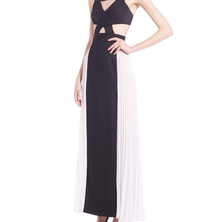 Black and white cut out maxi dress