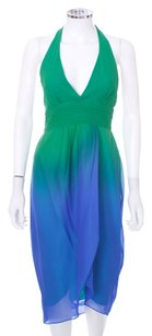 BCBGMAXAZRIA Chiffon Strapless Silk Seahawks Ombre Dress