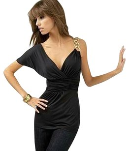 BCBGMAXAZRIA Gold Hardware Jersey Top Black