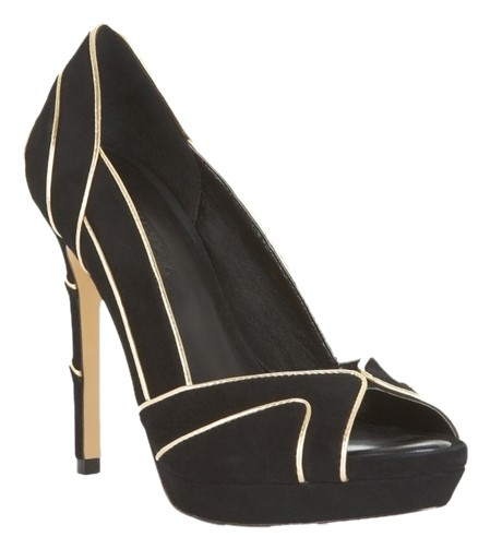 Black And Gold Peep Toe Heels