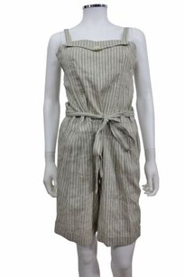 BCBGMAXAZRIA Gray Striped Envelope Flap Bust Knee Short Dress